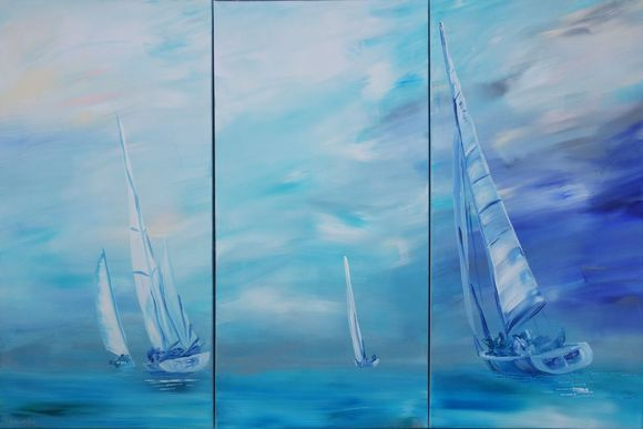 artfinder.com/ksaveraart   #Seascape with #yachts #racing #blue #Large #paintings S54 100x150x2 cm #set of 3 #original #abstract #acrylic #artwork on #stretched #canvas by #artist Ksavera