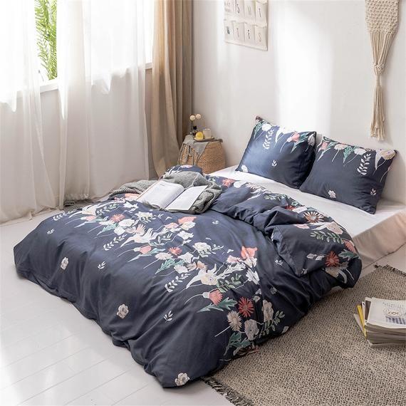 Fresh Flowers Leaves Duvet Set Navy Blue Duvet Cover Autumn Etsy Duvet Sets Blue Bed Covers Navy Blue Duvet Cover