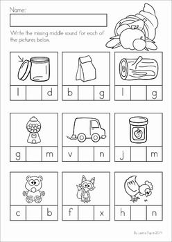 Kindergarten Thanksgiving Math & Literacy Worksheets and Activities. A page from the unit: Missing middle short vowel sounds word work activity.