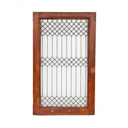 "early 20th century antique american leaded glass ""picket fence"" interior residential cabinet door or window with varnished oak wood frame"