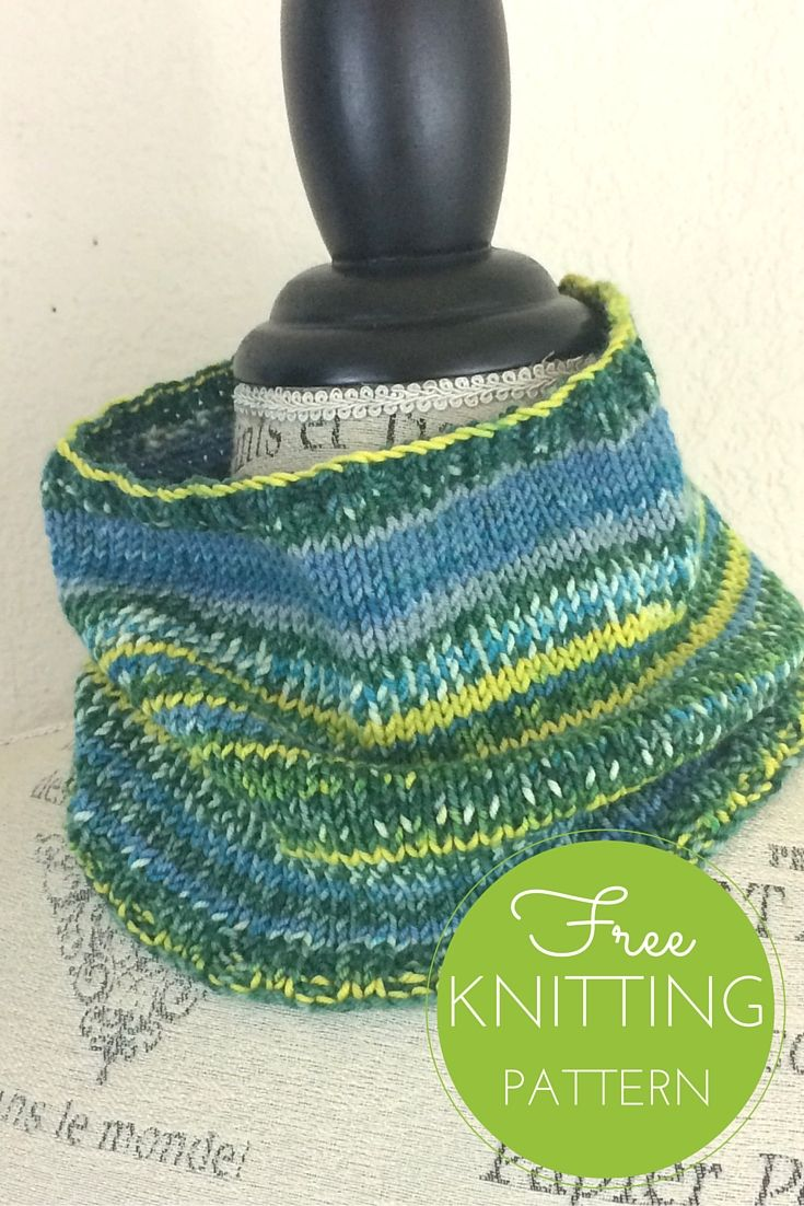 """Ambiente Cowl Free Knitting Pattern  One ball of Ambiente yarn is all you need to fall in love with this fiber!  It's bouncy, soft, and self striping. The hardest part of knitting this  cowl will be choosing a color! The cowl is knitted in the round with ribbed  edges to keep it from rolling.  Skill Level: Easy!  Completed Cowl Measures: 6"""" high x 20"""" circumference  You will need:      * 1 ball Schoppel Ambiente Yarn, shown in 2205     * Size US 6 circular 16"""" needle     * Stitch marker…"""