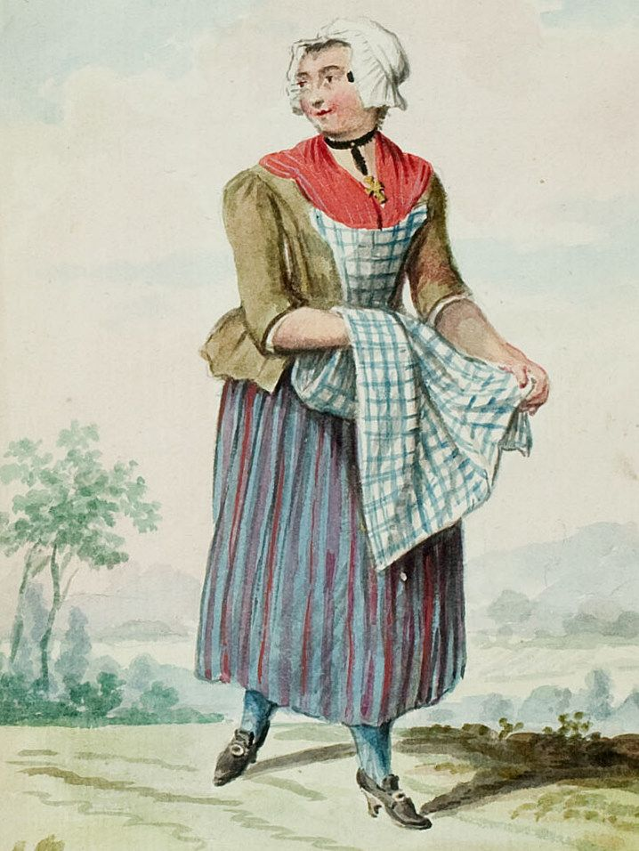 "1770s - 18th century - woman's outfit with mixed print fabrics (jacket in solid, skirt in stripes, apron in plaid/checks) - From ""An album containing 90 fine water color paintings of costumes."" Turin : [s.n.] , [ca.1775]. In the collection of the Bunka Fashion College in Japan."
