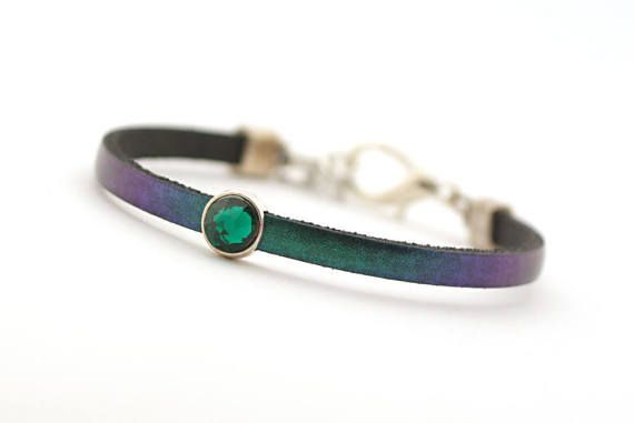Romantic jewelry gifts Emerald Leather Bracelet by cardioceras