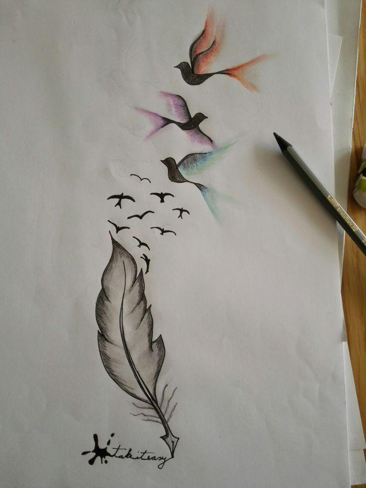 schreibende Feder mit Vögel by Pandi