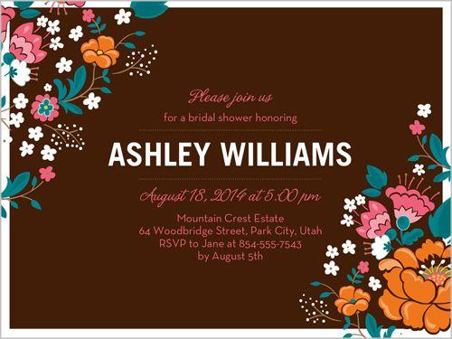 Wild Flowers Frame Bridal Shower Invitation