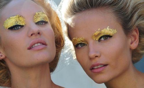 gold leaf: Make Up, Eye Makeup, Gold Leaf, Makeup Artists, Eye Shadows, Milan Fashion Week, Eyeshadows, Leaves, Gold Eye