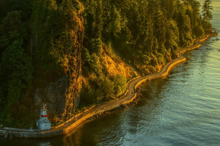 Taken just before sunset from the top of the Lions Gate Bridge in Vancouver. This section of the seawall is just below the Lions Gate Bridge and borders the Pacific Ocean and Stanley Park. It is one of the most popular walks in Canada, if not the entire world. #Seawall #StanleyPark #Vancouver
