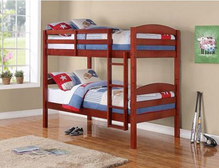 Solid Wood Twin Over Twin Kids Bunk Bed Converts Single Bedroom Furniture Walnut