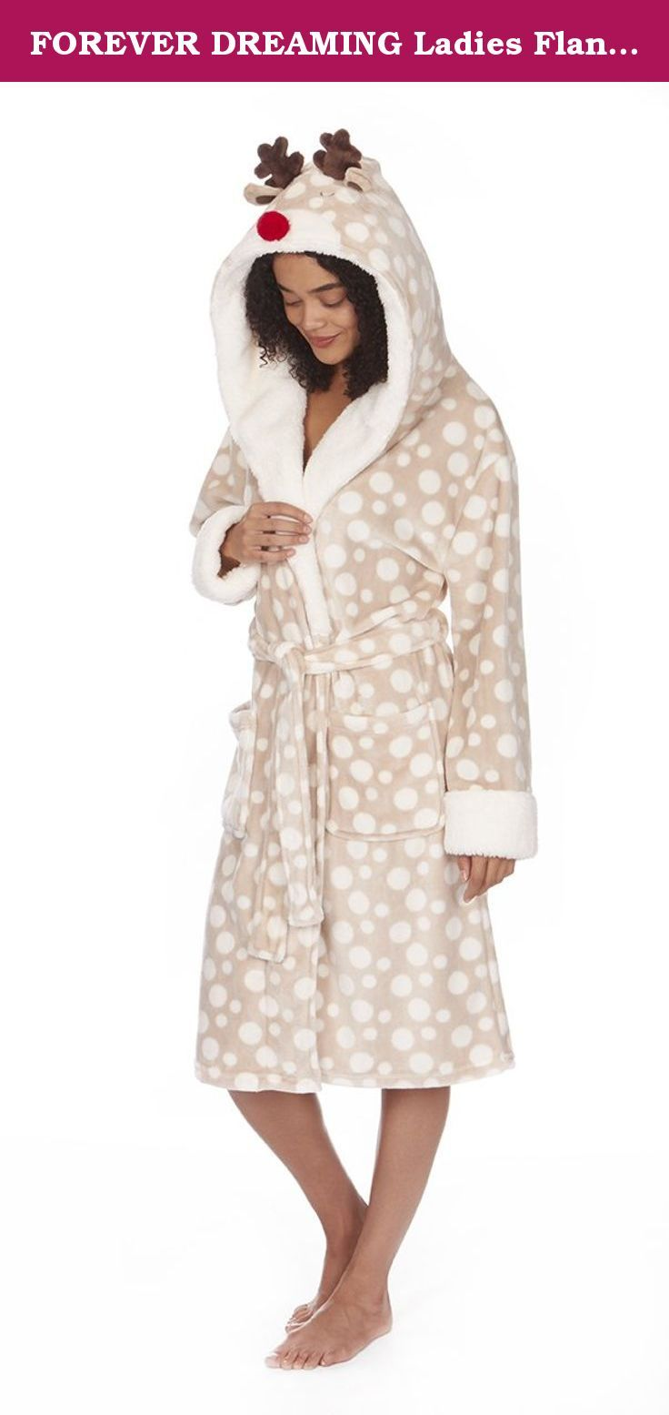 FOREVER DREAMING Ladies Flannel Fleece Christmas Dressing Robe. Keep snug and warm over Christmas and winter with these fantastic dressing gowns from Forever Dreaming! These make an excellent Christmas gift, (thanks to to polka dot snow pattern), and can be worn throughout the year! Made from a 100% Polyester flannel fleece meaning these are super soft, strong, light weight, and resistant to shrinking, stretching, mildew and creasing! Available in various sizes, from small to extra large...