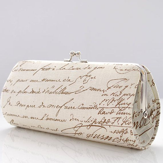 Old Script in Brown..Small Clutch Purse by PoppyPunch on Etsy.com