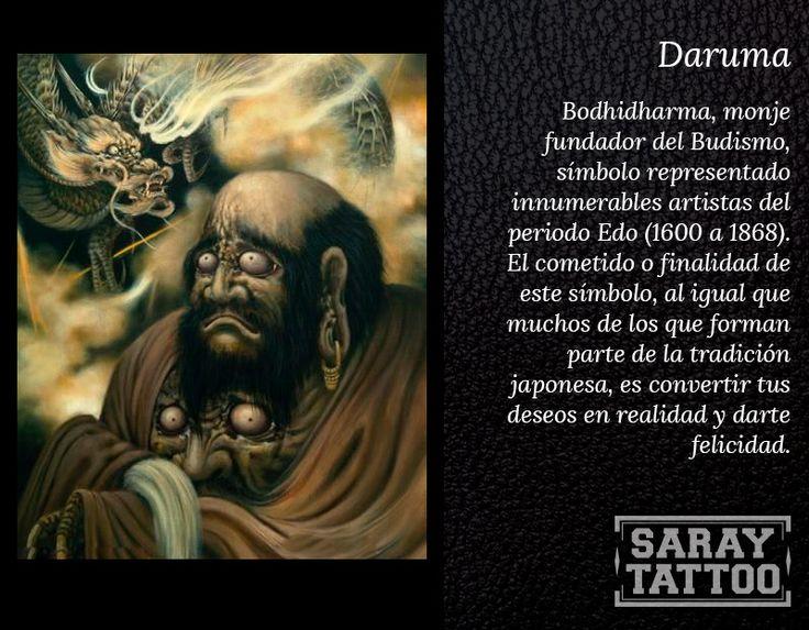 Bodhidharma, monje fundador del Budismo,  símbolo representado innumerables artistas del periodo Edo (1600 a 1868). El cometido o finalidad de este símbolo, al igual que muchos de los que forman parte de la tradición japonesa, es convertir tus deseos en realidad y darte felicidad.