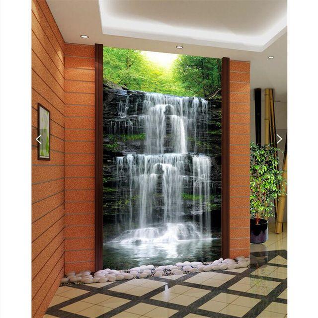 Wall Paper 3d Art Mural Hd Waterfall Natural Beauty Restaurant Hotel Wallpaper Home Decor Modern Wall Jpg 640x640 Jpg Modern Wall Paint Home Decor Modern Decor