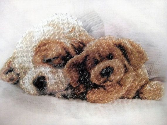 Framed Embroidery Sleeping puppies Beadwork Embroidery art