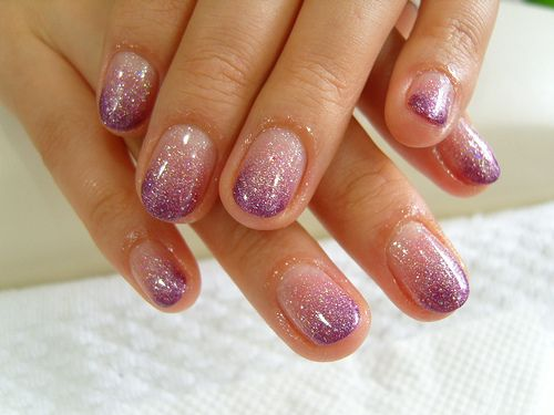 Sparkly Ombre Purple Glitter Nail Polish