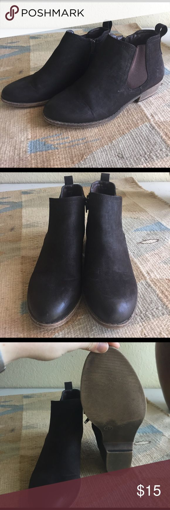 Brown Chelsea Ankle Boots Chocolate brown ankle boots. Very good condition. Hardly worn. Merona Shoes Ankle Boots & Booties
