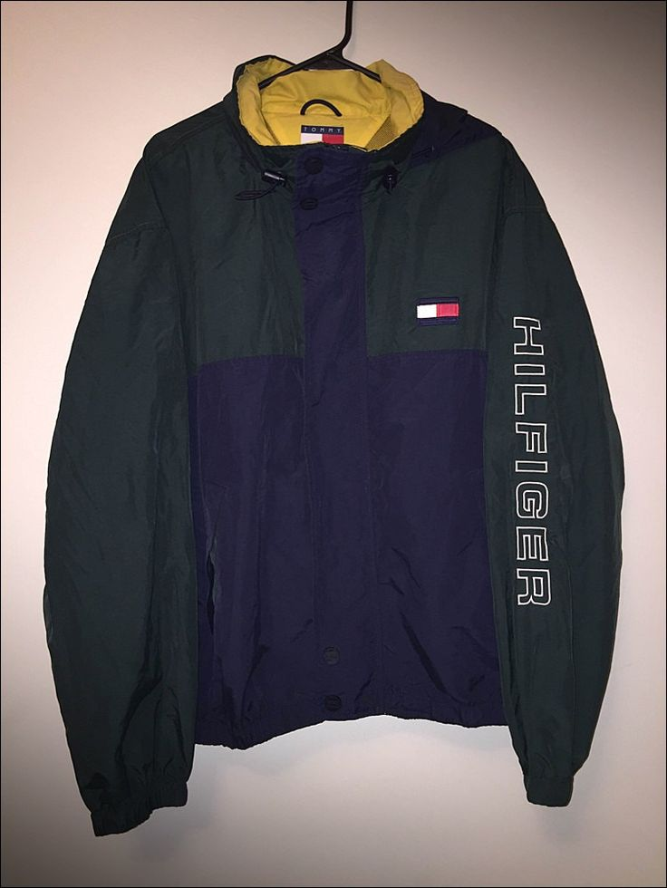 Vintage 90's Tommy Hilfiger Spelled Spell Out Colorblock Windbreaker Jacket - XL by JourneymanVintage on Etsy