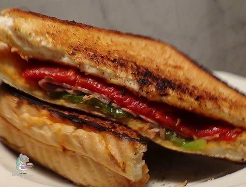 Receta casera de sándwich de jamón y pimientos #sandwiches