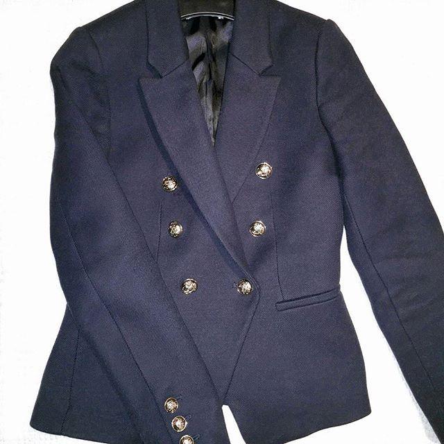 Balmain style werks 😊 . .  luxe military blazer ootd outfit whatiwear navy