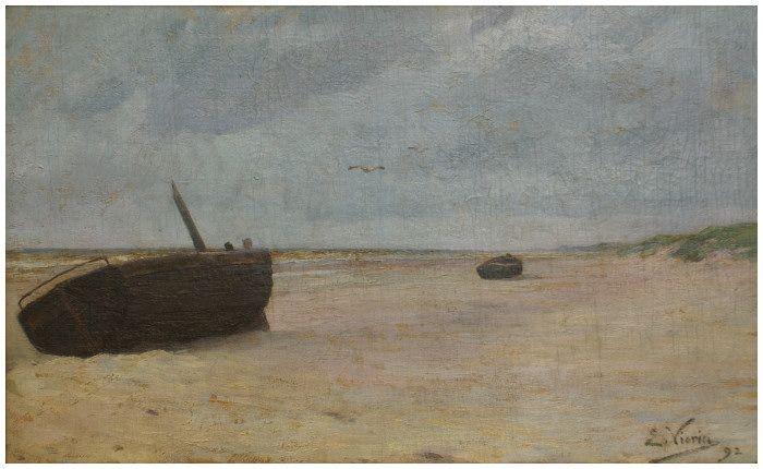 Twee vissersboten op het strand Emmanuel Vierin