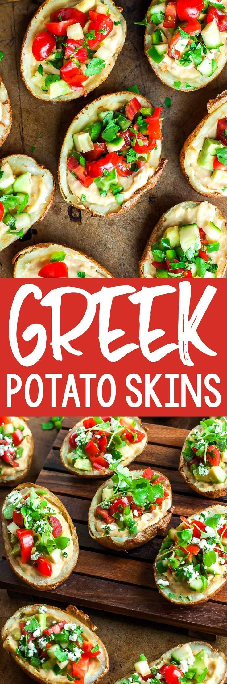 Greek Potato Skins with Roasted Garlic Hummus