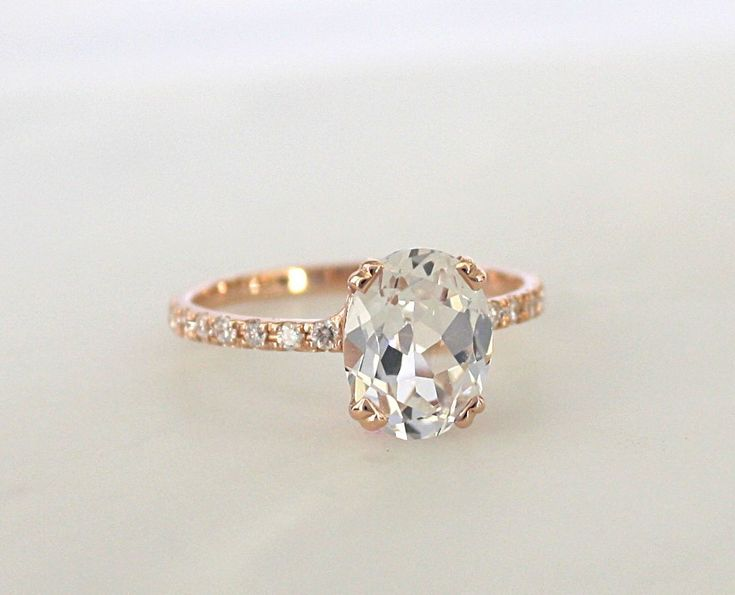 Oval White Sapphire Diamond Engagement Ring in 14K Rose Gold #engagementrings