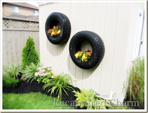If you want something that you can hang to your shed's wall, these tires make for creative planters. Plant something floral so that they would complement the industrial feel that the tires give.