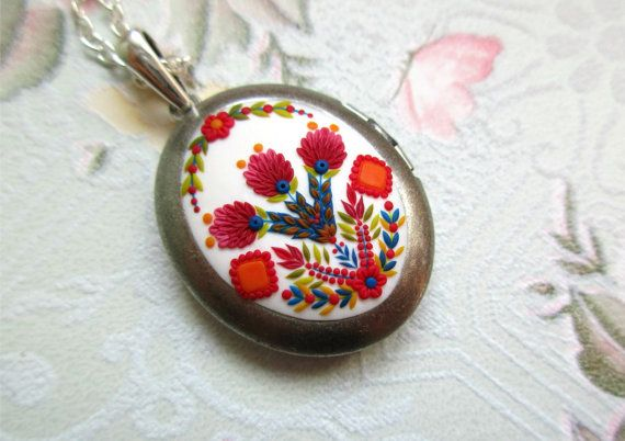 Locket inspired by traditional folk ethno costumes Stories made by hands hand made jewelry clay locket