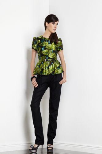 floral jacquard peplum blouse