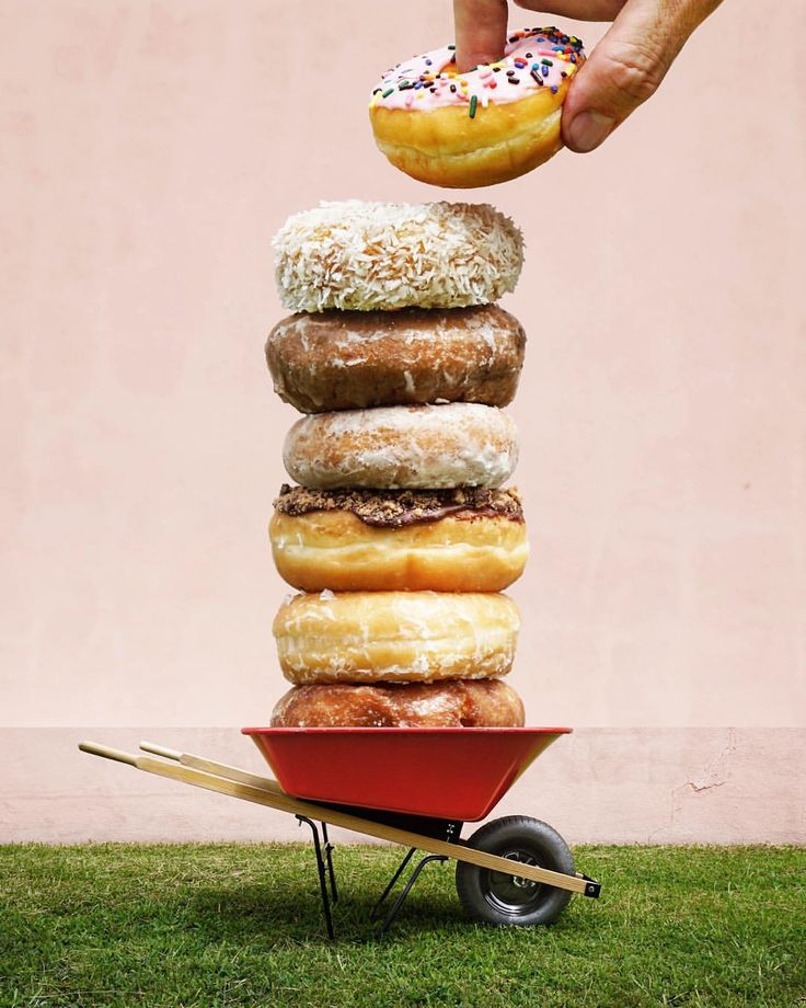 donuts + wheelbarrow  I stacked some donuts this weekend to see what my previously very square world looks like now that it can be a little more vertical. that said, I'm digging all the new views from the latest @instagram update. #combophoto