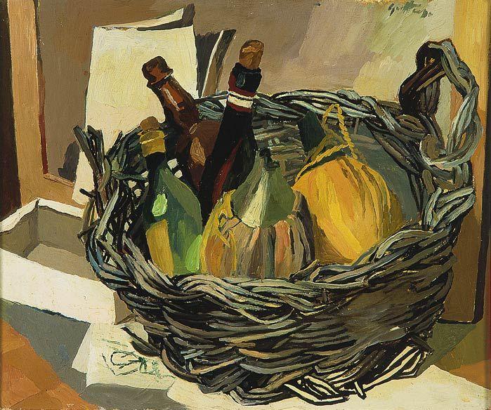 Renato Guttuso (Bagheria, 1911-Roma, 1987) - Cestino con fiaschi -1941-1942 - olio su tela - Collezione Alberto Della Ragione - Museo Novecento - Firenze