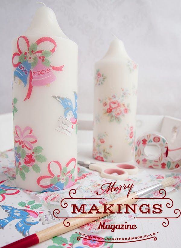 Cath Kidston decoupage candles for Christmas from #merrymakings magazine