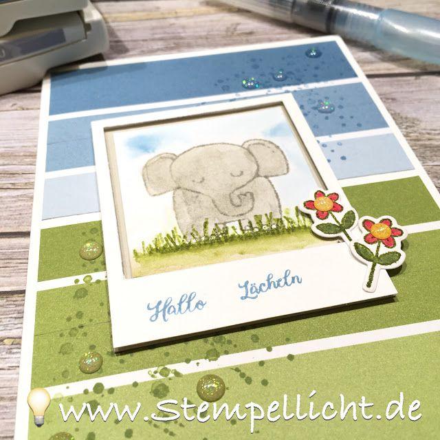Elefant aus Tierische Glückwünsche von Stampin Up auf Designerpapier Farbenspi… – Conni Richter