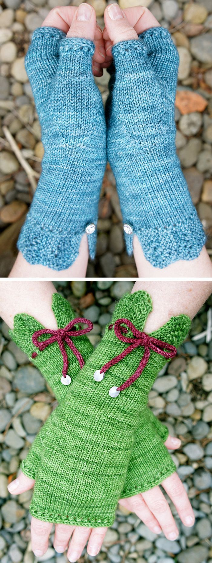 Free Knitting Pattern for Felicity Mitts - These fingerless gloves feature a lace-trimmed cuff, eyelet detailing, and I-cord edging at palm and thumb. Add buttons or I-cord laces at the cuffs for extra style. Three sizes. Uses 200 – 250 yards of the recommended yarn. Designed by Cloud House Studio