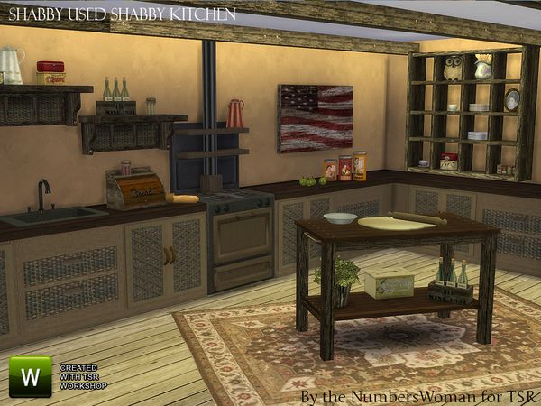 Shabby Bargain Shabby Chic Kitchen by TheNumbersWoman at TSR via Sims 4 Updates