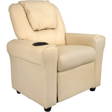 Flash Furniture Kids' Vinyl Recliner with Cupholder and Headrest, Multiple Colors, Beige