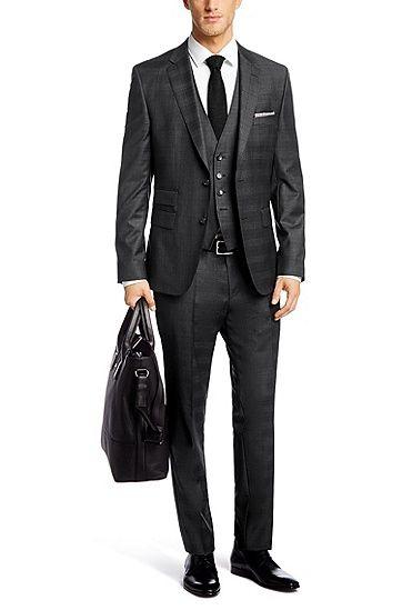 Slim-Fit Anzug mit Weste ´Norman/Ben WE` aus Schurwolle , Dunkelgrau (€ 649,-) | Boss