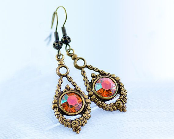 Earrings with Swarovski crystals. Copper-colored by LeKoLe on Etsy