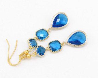 Espectaculares pendientes en Capri azul y oro, perfectos para joyería de la boda de Dama de honor, regalos de Navidad, ocasiones especiales, orden de encargo