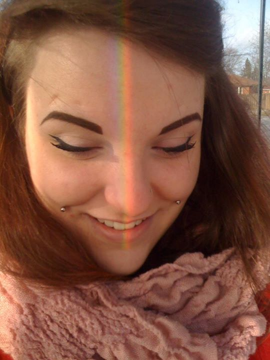 Perfect timing, the reflection of the rainbow was hitting my face beautifully <3