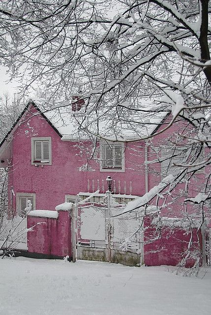 Snowy Cottage in Pink