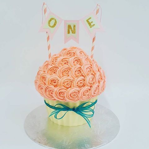 Light Pink Giant Cupcake with Bunting and Teal Ribbon