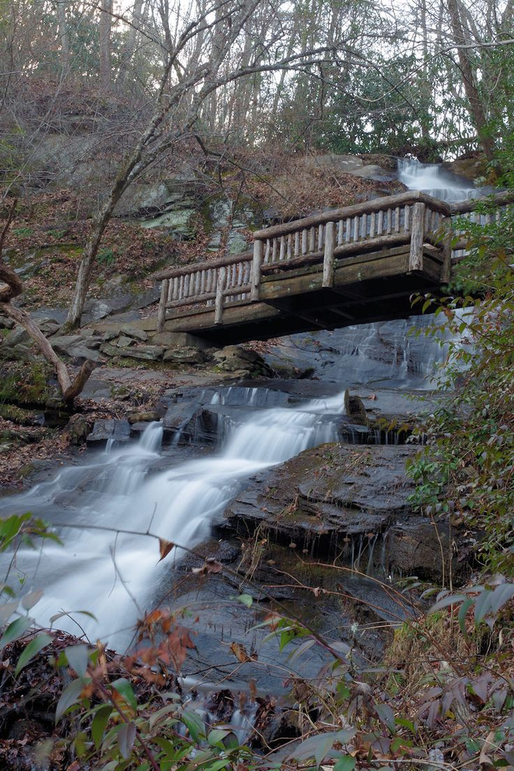 Great Smoky Mountains National Park hiking trail at Juney Whank Falls in North Carolina