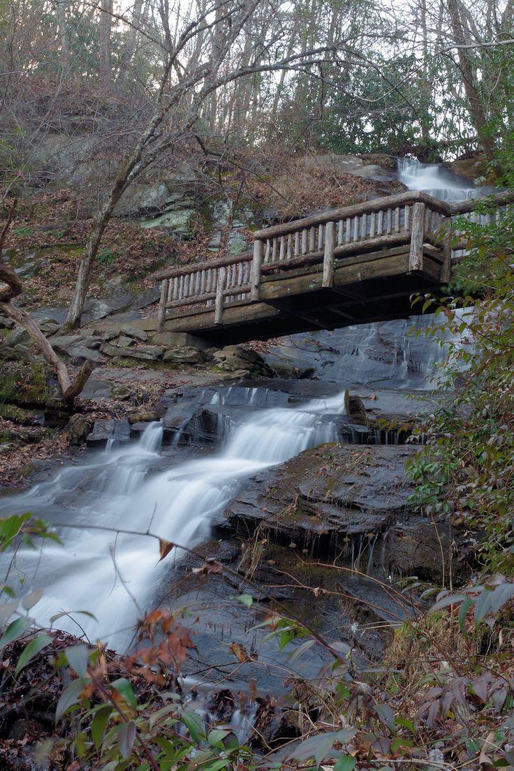 Great Smoky Mountains National Park hiking trail at Juney Whank Falls in North Carolina