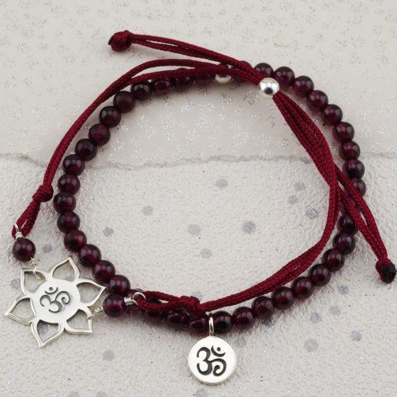 Silver Garnet Root Chakra bracelets, garnet gemstone, january birthstone friendship, BFF bracelet