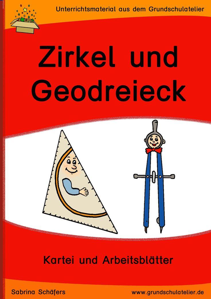 Unterrichtsmaterial für die Grundschule:  Freiarbeitskartei und Arbeitsblätter zum Zeichnen mit Zirkel und Geodreieck für den Geometrieunterricht 34 Seiten, pdf-Format, Klassen 3-4