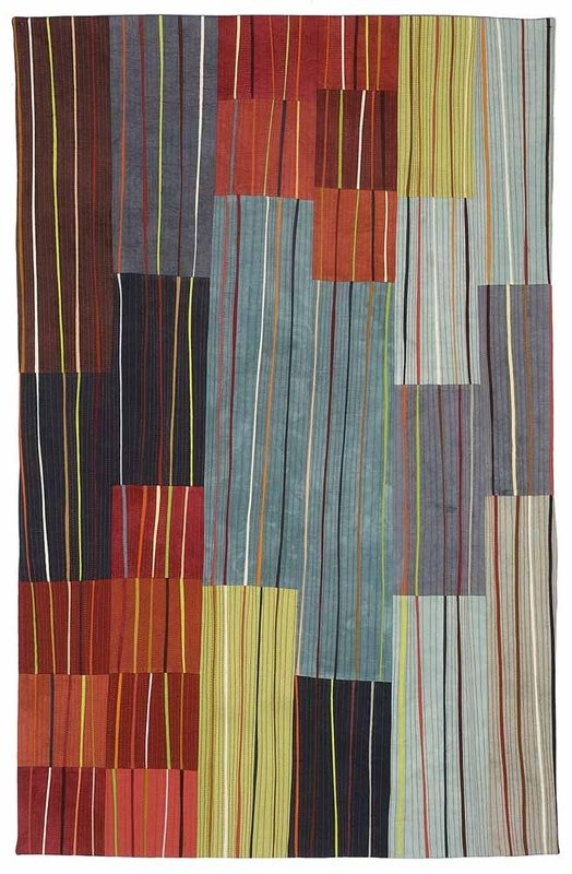stripes : colour block : abstract geometric : Valerie Maser-Flanagan.  Meandering Lines 41 x 26.5 inches