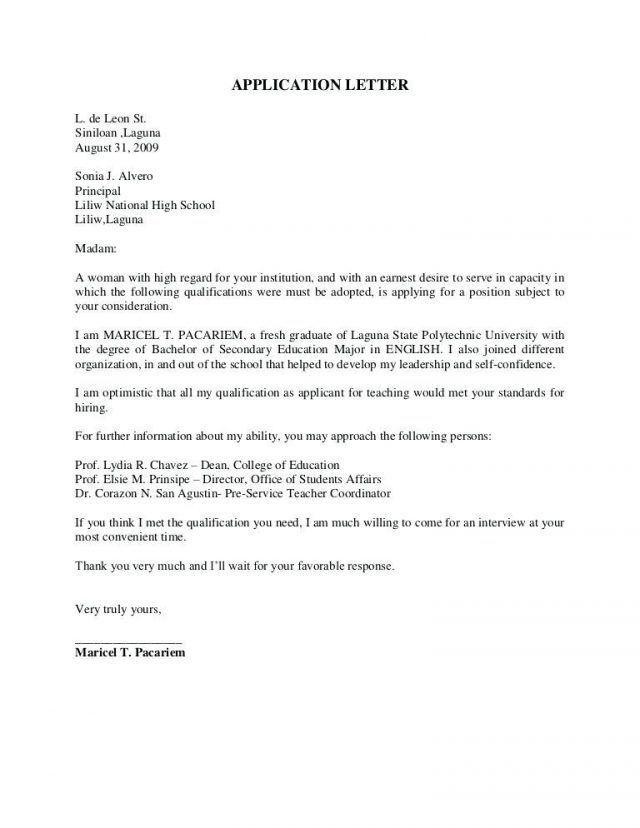 Application Letter Sample For Fresh Graduate Computer Science With Application Letter For Job For Application Letters Application Letter Sample Job Application