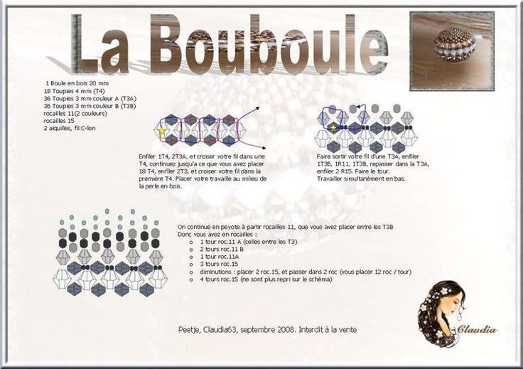 La_Bouboule free tutorial by diagram - interesting beaded bead...take a closer look