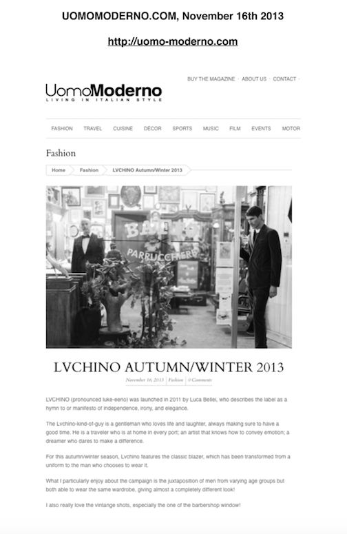 LVCHINO FW 13/14 collections on uom-moderno.it