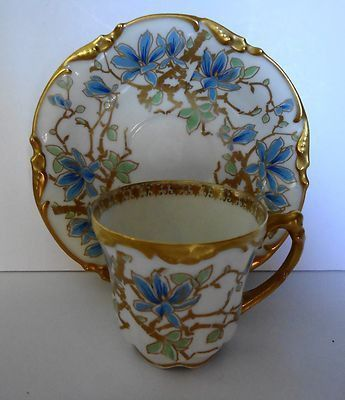 This BEAUTIFUL ANTIQUE J. POUYAT LIMOGES FRANCE DEMI-TASSE CUP AND SAUCER SET came from an estate. The saucer is backstamped in 2 places: PATD Jan. 23rd 1908 J.P.L. France and J.Pouyat Limoges (in gol